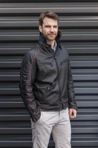 Roadman - Heinz Bauer Herren Lederjacke - Lamm exquisit schwarz/rot